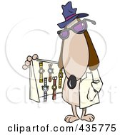 Royalty Free RF Clipart Illustration Of A Dog Selling Watches From Under His Coat