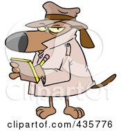 Royalty Free RF Clipart Illustration Of A Watch Dog Detective Taking Notes