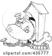 Royalty Free RF Clipart Illustration Of A Line Art Design Of An Aggressive Bulldog In His Dog House by toonaday
