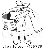 Royalty Free RF Clipart Illustration Of A Line Art Design Of A Watch Dog Detective Taking Notes