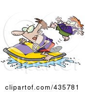 Father And Son Riding A Jet Ski
