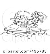 Royalty Free RF Clipart Illustration Of A Line Art Design Of A Mother And Daughter Riding A Jet Ski by toonaday
