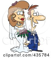 Royalty Free RF Clipart Illustration Of A Pleased Caucasian Wedding Couple by toonaday