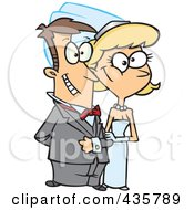 Royalty Free RF Clipart Illustration Of A Happy Caucasian Wedding Couple