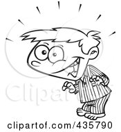 Royalty Free RF Clipart Illustration Of A Line Art Design Of A Super Surprised Boy In His Pajamas