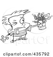 Royalty Free RF Clipart Illustration Of A Line Art Design Of A Boy Holding A Can Of Worms by toonaday