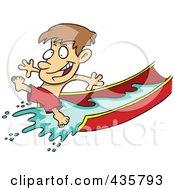 Happy Boy On A Water Slide