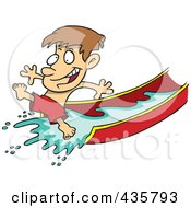 Royalty Free RF Clipart Illustration Of A Happy Boy On A Water Slide