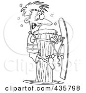 Royalty Free RF Clipart Illustration Of A Line Art Design Of A Waterskier Hitting A Post by toonaday