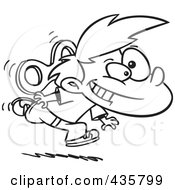 Royalty Free RF Clipart Illustration Of A Line Art Design Of A Wind Up Boy Running