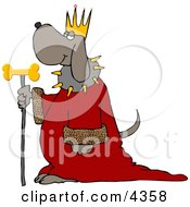Dog Wearing Kings Crown Royal Red Robe And Holding A Gold Milk Bone Staff Clipart