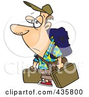 Tired Male Traveler Carrying Luggage