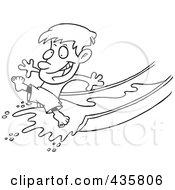 Line Art Design Of A Happy Boy On A Water Slide
