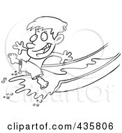 Royalty Free RF Clipart Illustration Of A Line Art Design Of A Happy Boy On A Water Slide by toonaday