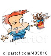 Royalty Free RF Clipart Illustration Of A Red Haired Boy Holding A Can Of Worms by toonaday