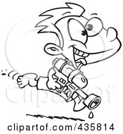 Royalty Free RF Clipart Illustration Of A Line Art Design Of A Playful Boy Running With A Water Gun