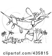 Royalty Free RF Clipart Illustration Of A Line Art Design Of A Happy Man Relaxing In A Hammock And Watering His Flowers by toonaday
