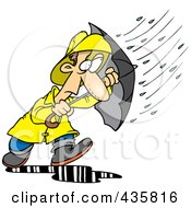 Cartoon Man Caught In A Nasty Rain Storm