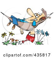 Royalty Free RF Clipart Illustration Of A Happy Man Relaxing In A Hammock And Watering His Flowers