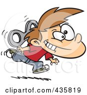 Royalty Free RF Clipart Illustration Of An Energetic Wind Up Boy Running by Ron Leishman