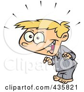 Royalty Free RF Clipart Illustration Of A Super Surprised Blond Boy In His Pajamas