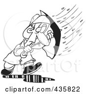 Royalty Free RF Clipart Illustration Of A Line Art Design Of A Man Caught In A Nasty Rain Storm by toonaday
