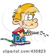 Royalty Free RF Clipart Illustration Of A Boy Using A Garden Hose To Water