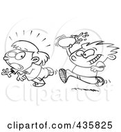 Royalty Free RF Clipart Illustration Of A Line Art Design Of A Boy Throwing Water Balloons