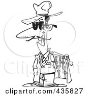 Royalty Free RF Clipart Illustration Of A Line Art Design Of A Knock Off Salesman Selling Watches by toonaday