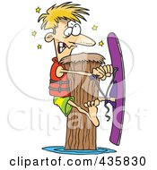 Royalty Free RF Clipart Illustration Of A Waterskier Hitting A Post by toonaday
