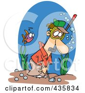 Royalty Free RF Clipart Illustration Of A Man Wearing A Snorkel Mask And Golfing Underwater by toonaday