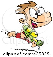 Royalty Free RF Clipart Illustration Of A Playful Boy Running With A Water Gun