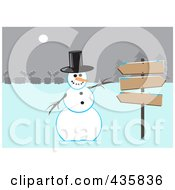 Royalty Free RF Clipart Illustration Of A Winter Snowman Wearing A Top Hat And Gesturing To Wooden Signs Near A Village by Dennis Cox