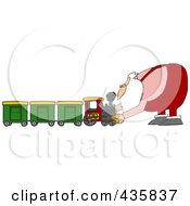 Royalty Free RF Clipart Illustration Of Santa Assembling A Toy Train