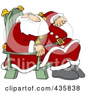 Royalty Free RF Clipart Illustration Of Santa Sitting In A Chair And Glancing At His Watch