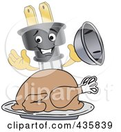 Royalty Free RF Clipart Illustration Of An Electric Plug Mascot Serving A Thanksgiving Turkey by Toons4Biz