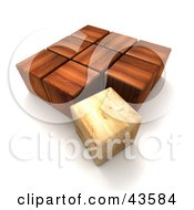 Clipart Illustration Of A Lighter 3d Wood Block Trying To Fit In With Dark Cubes