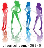 Royalty Free RF Clipart Illustration Of A Line Of Red Green Blue And Purple Sexy Pinup Women With Hearts On Their Bodies And Reflections by Rosie Piter
