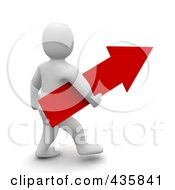3d Blanco White Man Carrying A Red Arrow