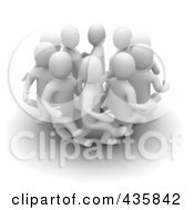 Group Of 3d Blanco White Men Kicking Each Others Butts In A Circle