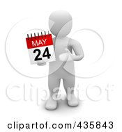 Royalty Free RF Clipart Illustration Of A 3d Blanco White Man Holding A May 24 Calendar