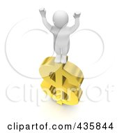 3d White Blanco Man Standing Victoriously On A Gold Dollar Symbol