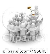 Royalty Free RF Clipart Illustration Of A Group Of 3d Blanco White Men Bidding At An Auction