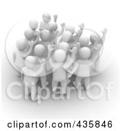 Royalty Free RF Clipart Illustration Of A Group Of 3d Blanco White Men Welcoming