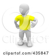 Royalty Free RF Clipart Illustration Of A 3d Blanco White Man Wearing A Yellow T Shirt