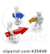 Royalty Free RF Clipart Illustration Of 3d Blanco White Men Carrying Blue Yellow And Red Arrows by Jiri Moucka