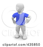 3d Blanco White Man Wearing A Blue T Shirt