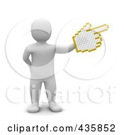 3d Blanco White Man Pointing With A Hand Cursor