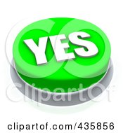 Royalty Free RF Clipart Illustration Of A 3d Green Yes Push Button by Jiri Moucka