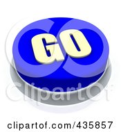 Royalty Free RF Clipart Illustration Of A 3d Blue Go Push Button by Jiri Moucka
